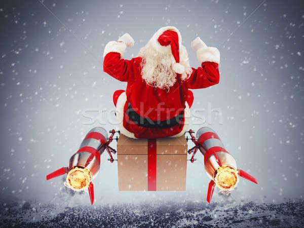 Gyors házhozszállítás karácsony ajándékok mikulás ajándék doboz Stock fotó © alphaspirit