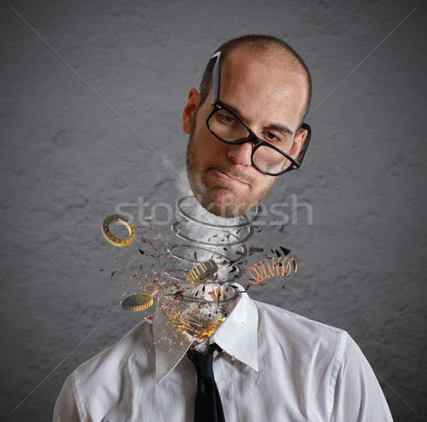 Stres patlama kafa işadamı yorgun iş Stok fotoğraf © alphaspirit