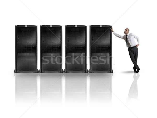 Zakenman server kamer business internet Stockfoto © alphaspirit