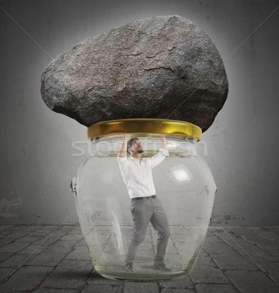 Człowiek uwięzione jar rock szkła kamień Zdjęcia stock © alphaspirit
