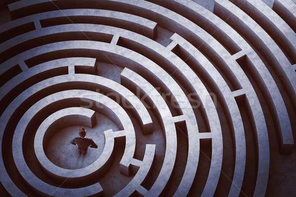Stock fotó: Központ · labirintus · üzletember · keresés · gól · elveszett