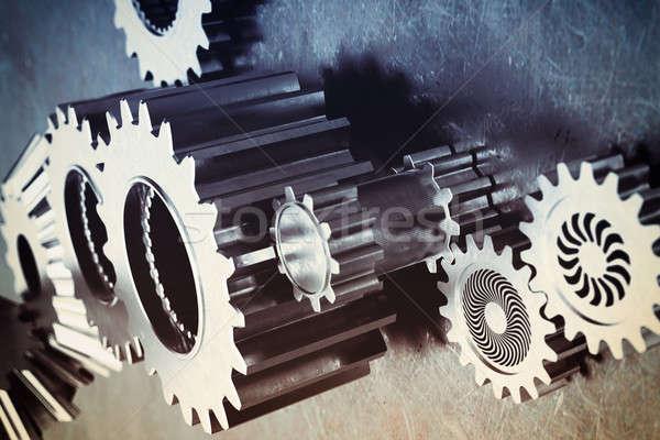 Attrezzi meccanismo bloccato insieme metal industria Foto d'archivio © alphaspirit