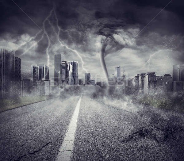 Recession concept with storm in a city Stock photo © alphaspirit