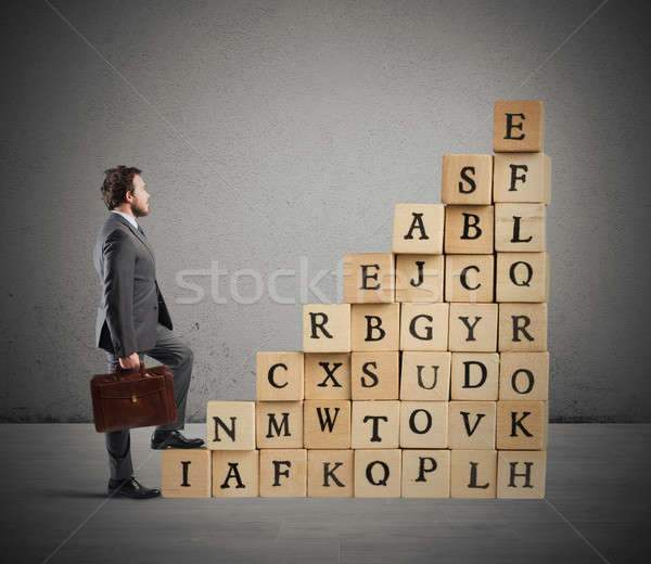 Business wooden cube scale Stock photo © alphaspirit