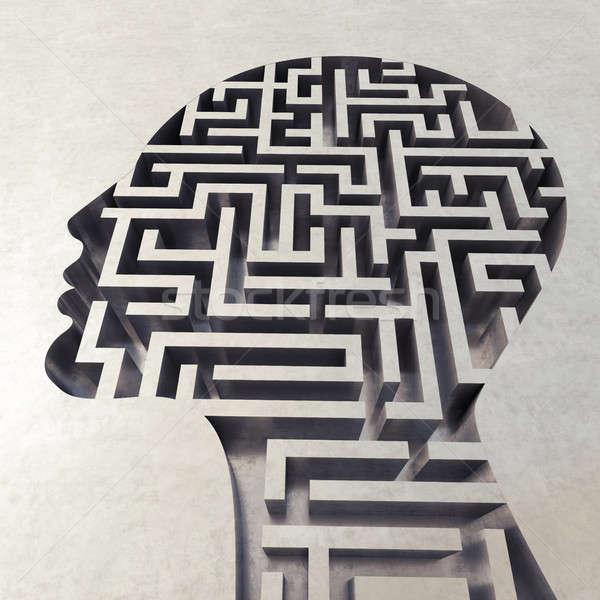 Labirintus fej 3D renderelt kép bonyolult labirintus Stock fotó © alphaspirit