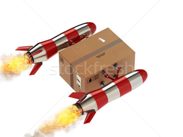 Stock photo: Fast delivery of package by turbo rocket. 3D Rendering