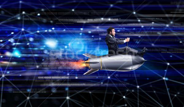 Rápido internet empresário foguete computador Foto stock © alphaspirit