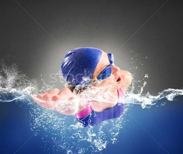 Swims in freestyle Stock photo © alphaspirit