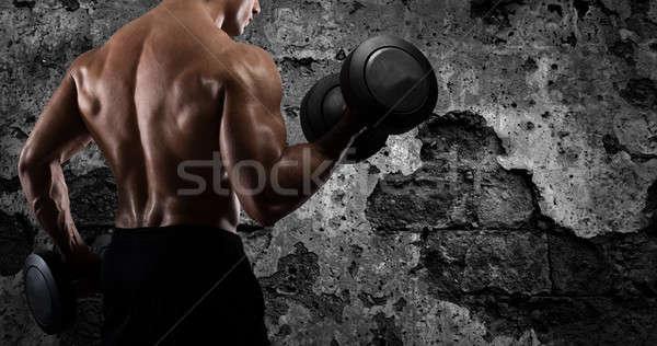 アスレチック 男 訓練 上腕二頭筋 ジム 筋肉の ストックフォト © alphaspirit