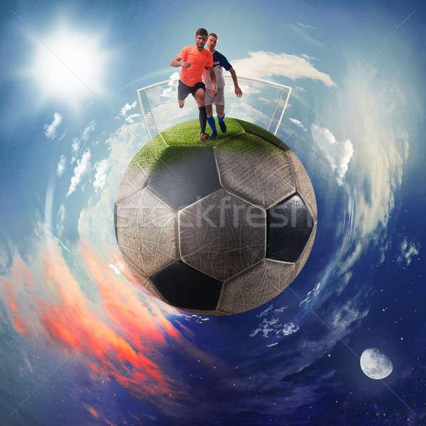 Foto stock: Fútbol · jugadores · balón · de · fútbol · planeta · negocios · fútbol