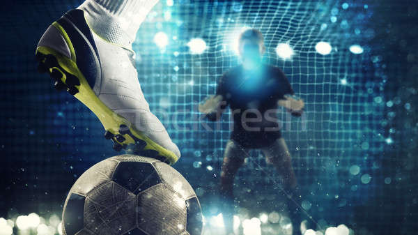 Close up of a soccer striker ready to kicks the ball in the football goal Stock photo © alphaspirit