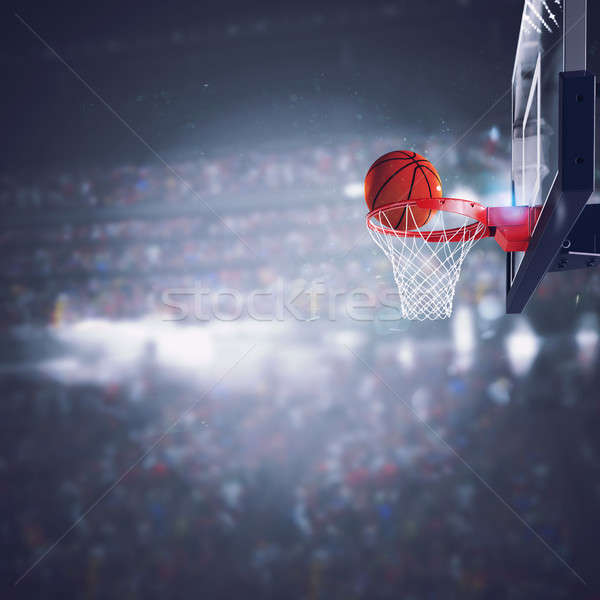 Ball goes fast to the basket at the stadium Stock photo © alphaspirit