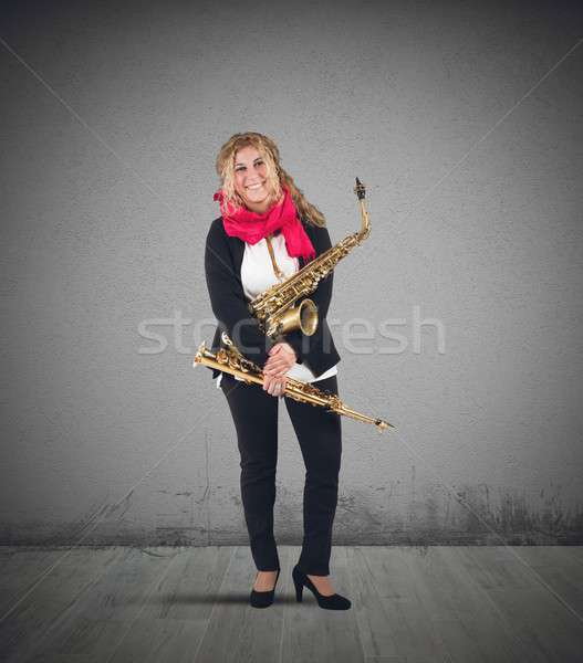 Musician and trumpet Stock photo © alphaspirit