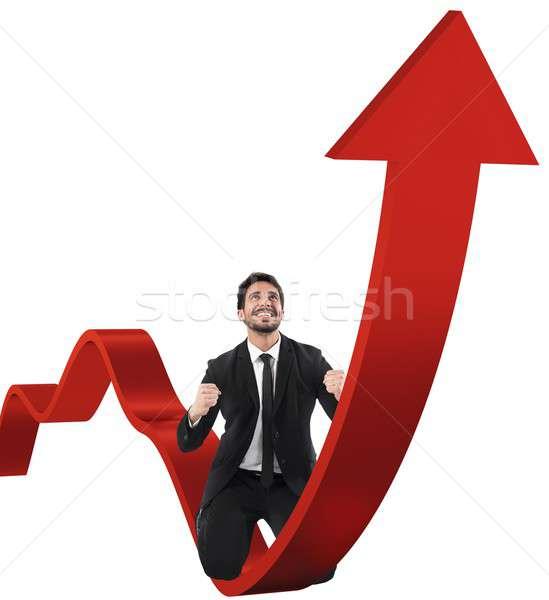 Businessman exults for economic success Stock photo © alphaspirit