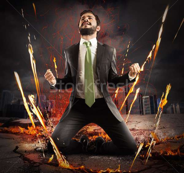 Businessman rejoices triumphantly Stock photo © alphaspirit