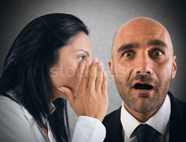 Dedikodu kadın konuşma gizli adam iletişim Stok fotoğraf © alphaspirit