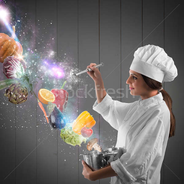 Magie koken chef pot lepel plantaardige Stockfoto © alphaspirit