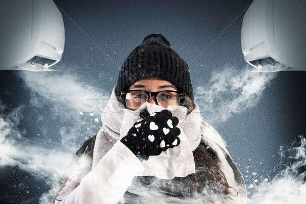 Zimą lata klimatyzacja kobieta wełny szalik Zdjęcia stock © alphaspirit