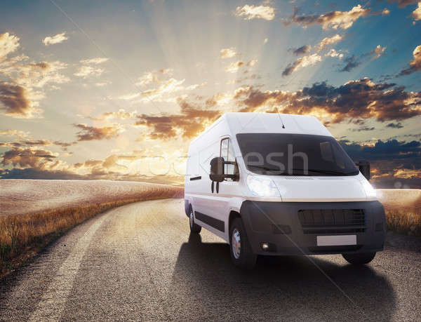Transport truck. 3D Rendering Stock photo © alphaspirit