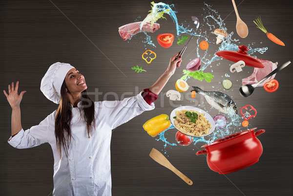 Chef  cooking with harmony Stock photo © alphaspirit