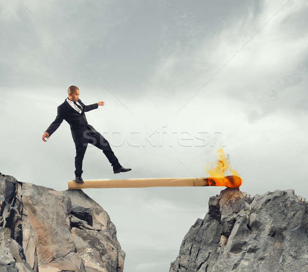 Paura imprenditore piedi match due Foto d'archivio © alphaspirit