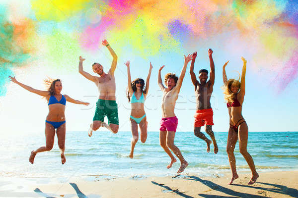 Colourful summer for a group of friends Stock photo © alphaspirit