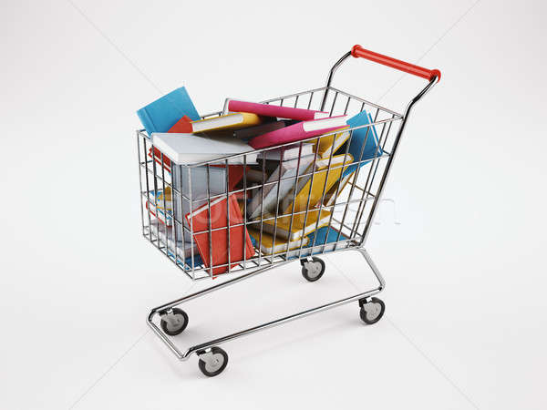Shopping cart full of books. 3D Rendering Stock photo © alphaspirit