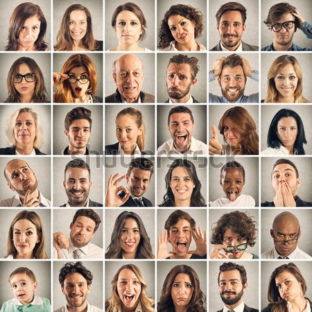 Happy and positive faces collage of business people Stock photo © alphaspirit