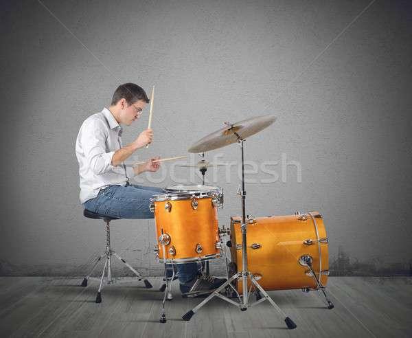 Trommelaar muzikant drums passie man concert Stockfoto © alphaspirit