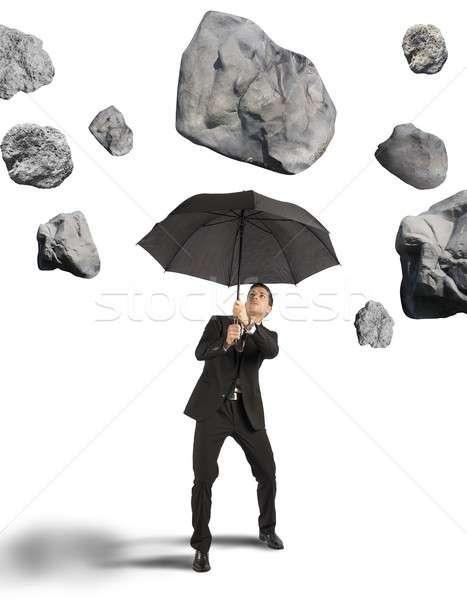 Abrigo tempestade crise empresário negócio pedra Foto stock © alphaspirit