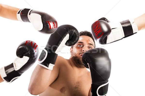Fracassado boxeador empresário assustado homem trabalhador Foto stock © alphaspirit