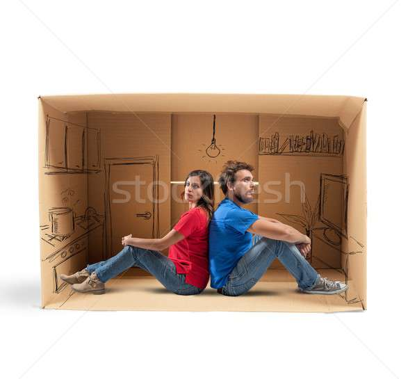 álmodik jövő otthon pár ház nő Stock fotó © alphaspirit