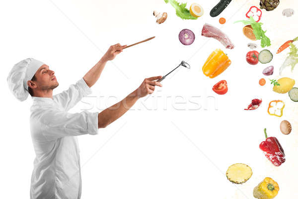 продовольствие музыкальный гармония повар человека мальчика Сток-фото © alphaspirit