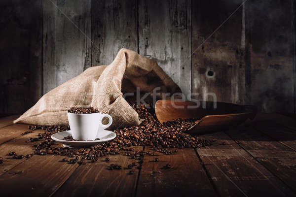 Background of cup of coffee beans Stock photo © alphaspirit