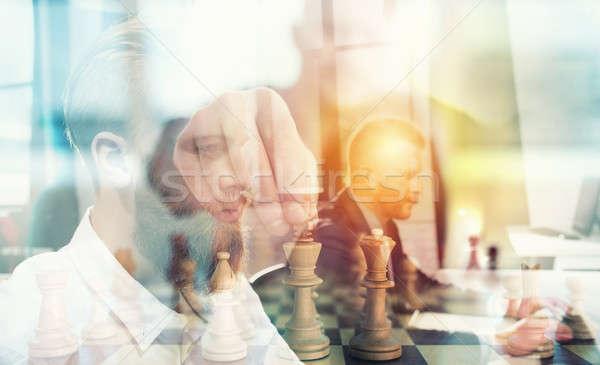 Negócio tática xadrez jogo empresários trabalhar Foto stock © alphaspirit