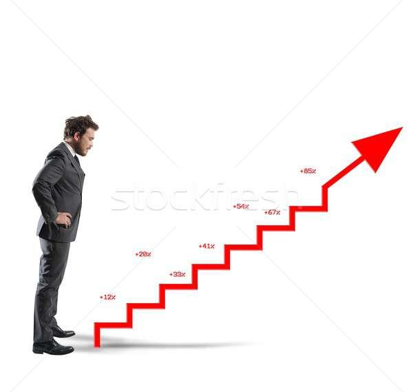 Positivo empresa estadística empresario como escaleras Foto stock © alphaspirit