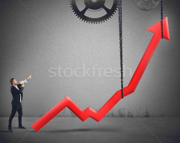 Statistiche imprenditore fine business finanziare parlando Foto d'archivio © alphaspirit