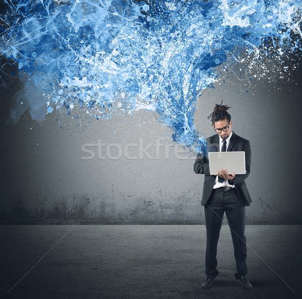 Send and share with laptop Stock photo © alphaspirit