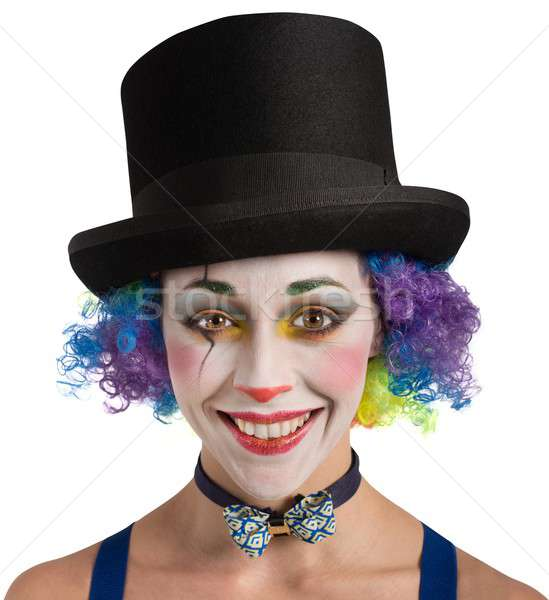 Souriant clown coloré portrait femme fête Photo stock © alphaspirit