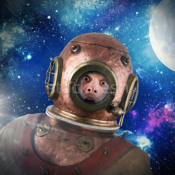Bağbozumu astronot takım elbise gökyüzü ay seyahat Stok fotoğraf © alphaspirit