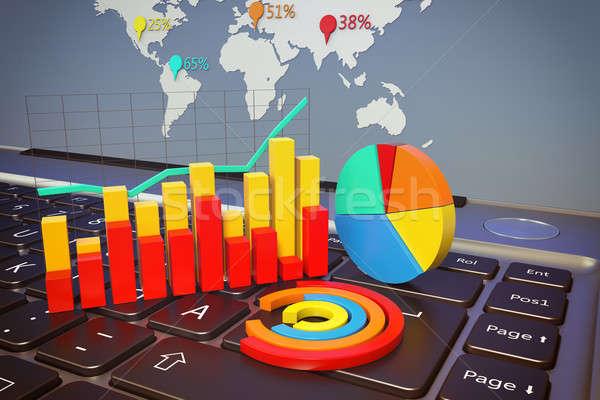 Világ statisztika grafika statisztika számítógép billentyűzet munka Stock fotó © alphaspirit