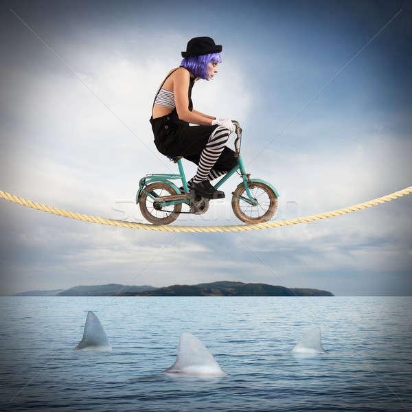 Dapper clown fiets touw vrouw fiets Stockfoto © alphaspirit
