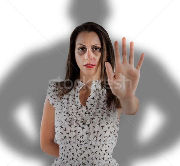 Stop donna violenza paura ombra uomo Foto d'archivio © alphaspirit