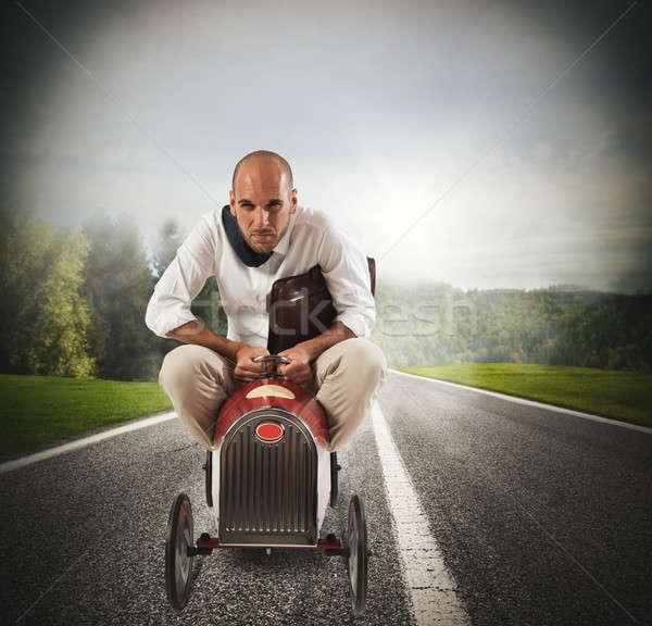 üzletember vezetés gyors autó táska hamar Stock fotó © alphaspirit