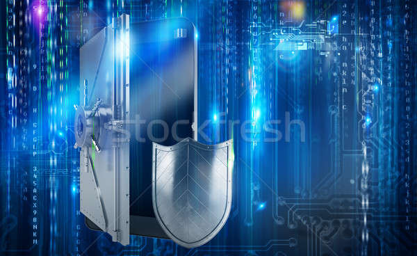 Safe cellphone from hacker attack like a strongbox. 3D Rendering Stock photo © alphaspirit