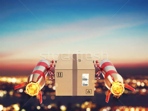 Fast delivery of package by turbo rocket. 3D Rendering Stock photo © alphaspirit