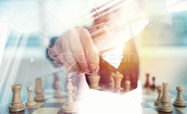 Scacchi gioco uomo d'affari ufficio sfidare Foto d'archivio © alphaspirit