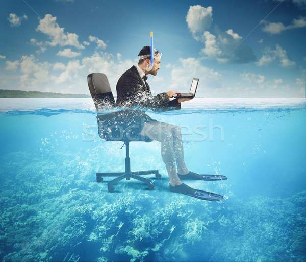 Stock photo: Work on holiday
