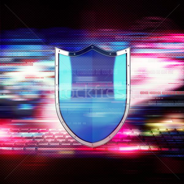 Firewall schild binair nummers kleurrijk internet Stockfoto © alphaspirit
