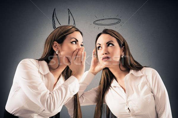 Duivel engel meisje halo vrouw Stockfoto © alphaspirit